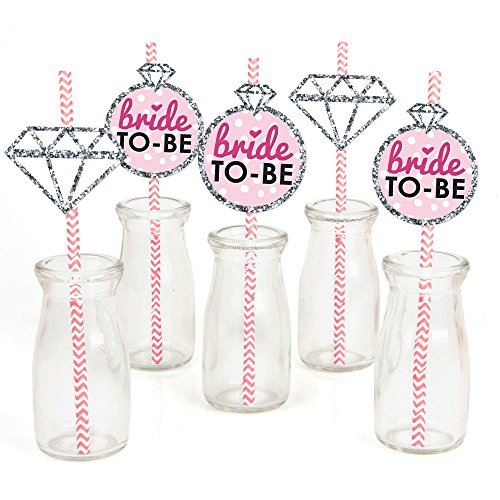 Bride-to-Be Paper Straw Decor - Bridal Shower & Classy Bachelorette Party Striped Decorative Straws - Set of 24 by Big Dot of Happiness
