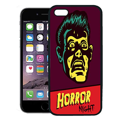 Semtomn Phone Case for iPhone Xs case,Horror Night Halloween Party Movie Event Terrified Vintage Man Face Afraid of Something Creepy Distracted iPhone 7 Plus case Cover,Black