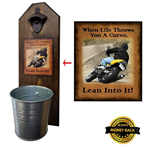"""""""When Life Throws You A Curve"""" Bottle Opener and Cap Catcher - Handcrafted by a Vet - 100% Solid Pine 3/4"""" Thick - Rustic Cast Iron Bottle Opener and Sturdy Mini Galvanized Bucket - Great Biker Gift!"""