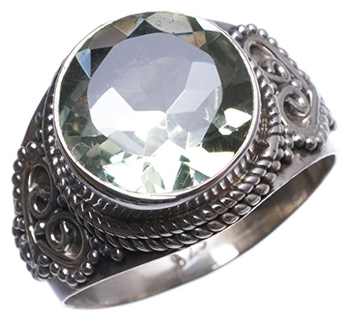 StarGems(tm) Natural Green Amethyst Handmade Unique 925 Sterling Silver Ring, US size 7.75 T6418 (Coin Green Ring Roberto)