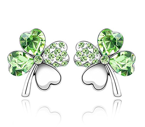 Acefeel Heart Shaped Swarovski Element Crystal 4 Leaf Clover Stud Earrings Fashion Jewelry for Women E182