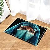 GoEoo Religion Bath Rugs A Muslim Woman With A Blue Face Towel Indoor Front Door Mat Kids Bath Mat 15.7x23.6in Bathroom Accessories
