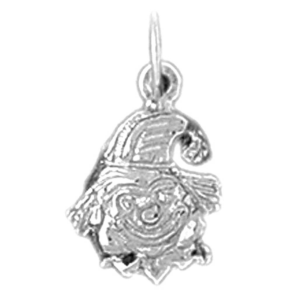 Jewels Obsession Clown Charm Pendant 17 mm 14K White Gold Clown Pendant