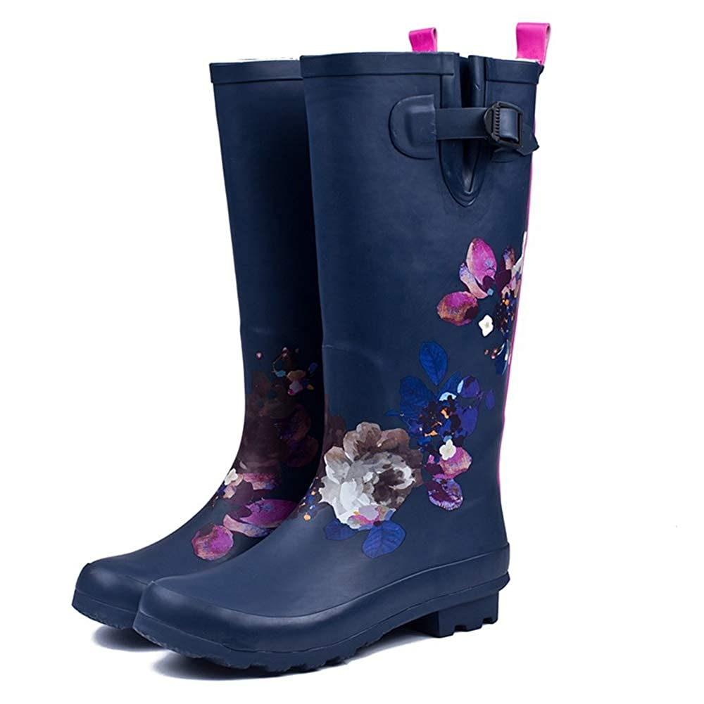 CHENSF Womens Mid Calf Waterproof Rubber Rain Boots Knee high Boots