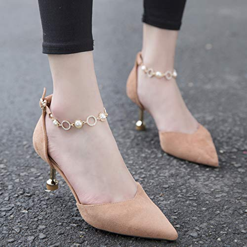 Heel KPHY Word Drill The And Water Chain Shoes One Quality 7Cm Spring With Heel Summer Shoe Thin Is Sharp Pink And In Suede High Head Cat raxOUqr