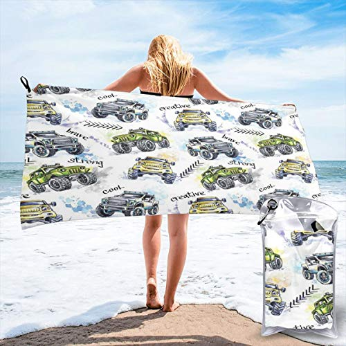 K0k2to Fast Drying Beach Travel Camping Towel,Hand Drawn Watercolored Monster Trucks Enormous Wheels Off Road Lifestyle,Quick Dry Lightweight Bath Towel