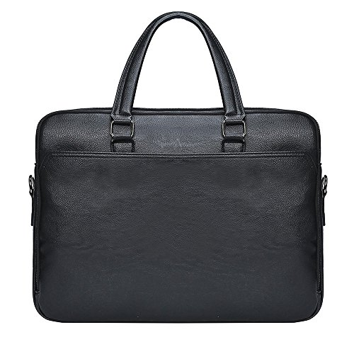 Men Leather Briefcase for Men Vintage Bag 15.6 inch Laptop Leather Black Bag Classic Briefcases Handbag Messenger Mens Business Bag for men SAJOSE(Black)