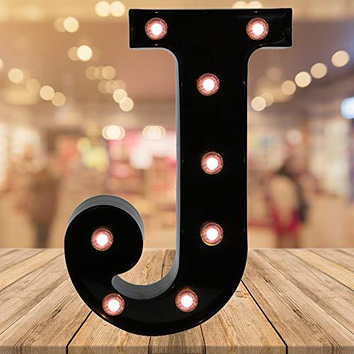 (Light up Letters LED Letter Black Alphabet Letter Night Lights for Home Bar Festival Birthday Party Wedding Decorative (Black Letter J))