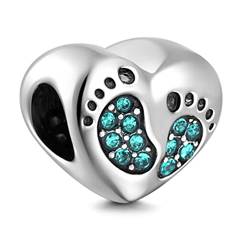 PHOCKSIN Baby Footprint CZ Jan-Dec Birthstone 925 Sterling Silver Love Charms fits Bracelets for Mom Kids