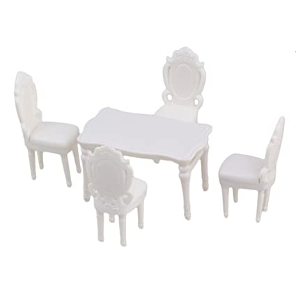 Exceptional BQLZR White Scale 1:25 Plastic Unpainted Dollhouse Miniatures Rectangle  Table Chairs Kitchen Dinning Room