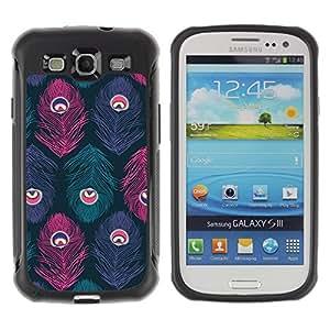 "Pulsar iFace Series Tpu silicona Carcasa Funda Case para Samsung Galaxy S3 III I9300 , Patrón del pavo real del trullo púrpura rosada"""