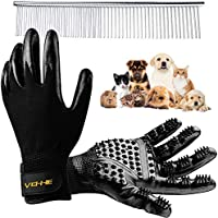 VEHHE Pet Grooming Gloves Dog Cat Horse Deshedding Hair Remover Glove with Stainless Steel Comb Pair