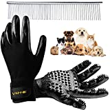 VEHHE Pet Grooming Gloves Pet Dog Hair Remover Glove Cat Horse Deshedding 1 Pair - Stainless Steel Comb - Enhanced Five Finger Design Brush Mitts for Sheeding Bathing Massaging