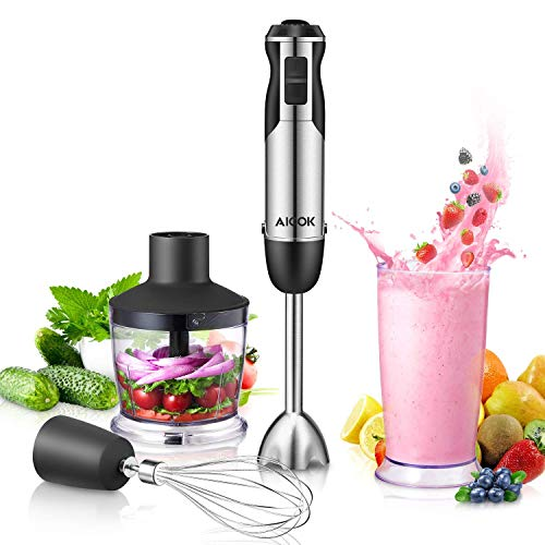 Immersion Blender, Aicok 4 in 1 Hand Blender with 12-Speed, Multi-Purpose Handheld Blender includes BPA-Free Beaker & Chopper & Egg Whisk, Stick Blender for Juices, Soups, Sauces & Baby Food
