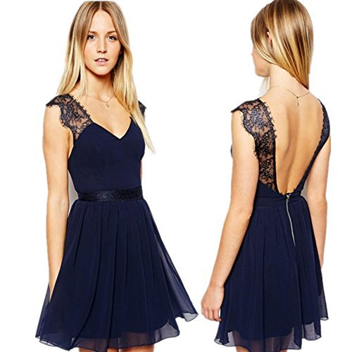 Womens Sexy V Neck Dresses Lace Strap Backless Chiffon Slim Fit Skirts Fashion