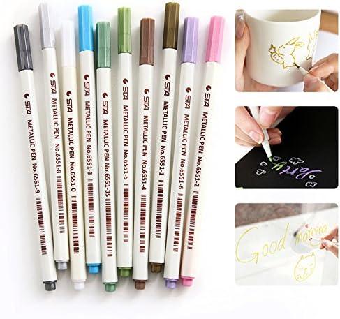 Metallic Stifte, Vitutech Marker Pens Satz von 10 sortierten Kugelspitze Farben Metallic Marker DIY Pens für Kartenherstellung Fotoalbum Gästebuch Gebrauch auf irgendeiner Oberfläche-Papier Glas Kun