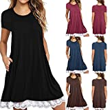 #5: ZOMUSAR Women Lace Short Sleeve Casual Loose T-Shirt Dress Tunic Shirts Top Blouse on Sale Clearance with Pocket