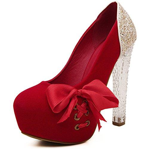 La primavera y el verano de tacón grueso singles femeninos zapatos de raso cinta cosido americana y europea de singles femeninos zapatos red