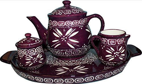 Temp-tations Carved Old World Eggplant 4-pc. Tea Pot Set w/ Teapot, Sugar, Creamer, & Tray