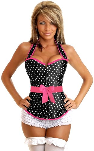 Daisy corsets Women's Rockabilly Polka Dot Halter Corset, Pink, X-Large