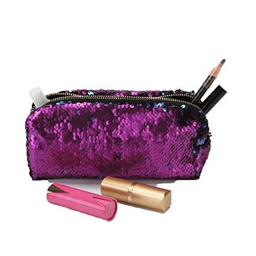 Edtoy DIY Mermaid Sequined Waterproof Make-Up Bag Cosmetic Storage Bag (Violet + blue)
