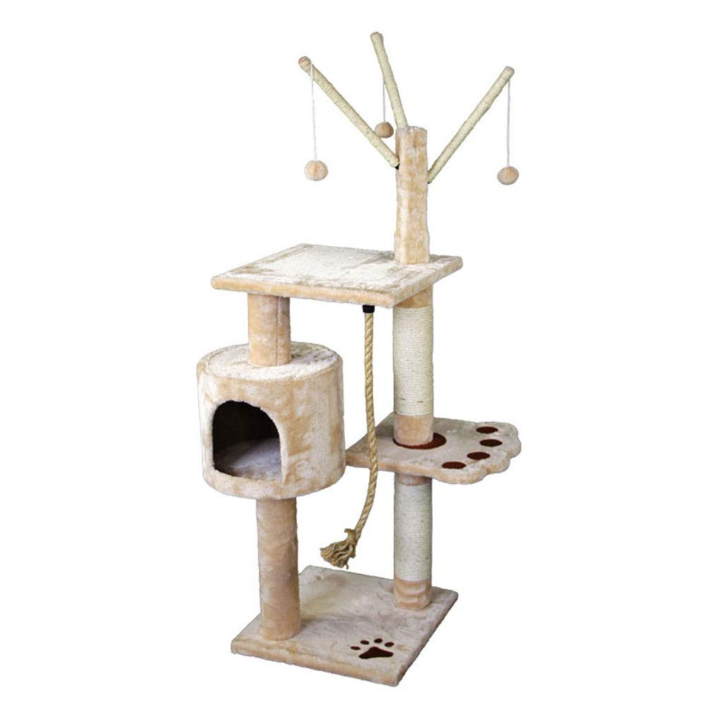 GCHOME Cat tree tower Cat Tree, Plush Natural Sisal Cat Tree Tower Cat Climbing Frame Wear-resistant Scratch-resistant Durable (beige)