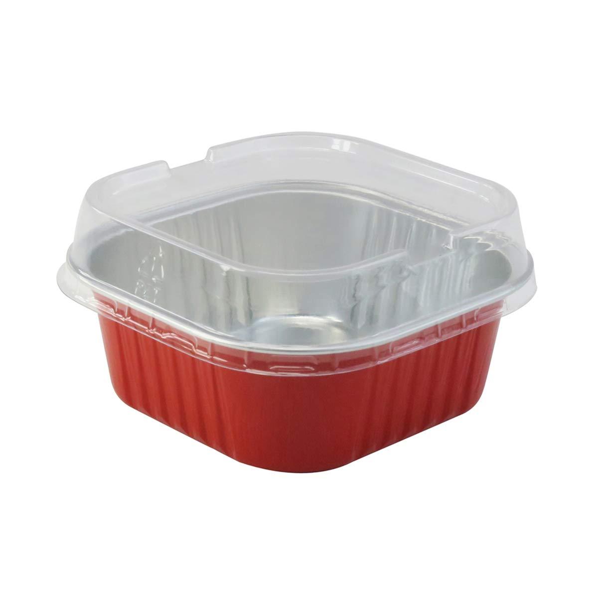 KitchenDance Disposable Aluminum 4'' x 4'' Square Dessert Pans W/Lids - #A-24P (500, Red)