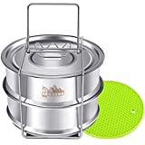 Stackable Steamer Insert Pans with Sling, Footek Pot Accessories for 5, 6, 8 Qt, Stainless Steel Food Steamer for Pressure Cooker Pot, Interchangeable Lids Included