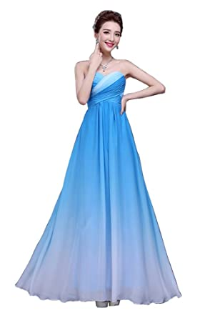 Drasawee Womens Gradient Strapless Chiffon Formal Evening Dresses Prom Gown Blue UK18
