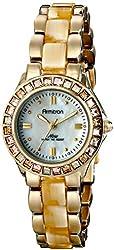 Armitron Women's 75/3689CMGPHN Swarovski Crystal Accented Gold-Tone Horn Bracelet Watch