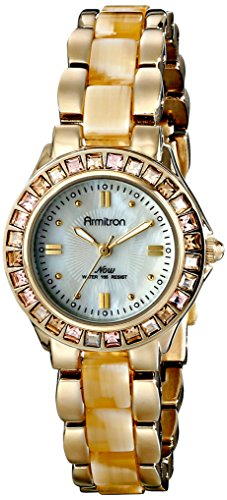 Horn Link Bracelet Watch - Armitron Women's 75/3689CMGPHN Swarovski Crystal Accented Gold-Tone Horn Bracelet Watch