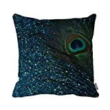 Glittery Aqua Peacock Feather Pillow Case Personalized 18x18 Inch Square Cotton Throw Pillow Case Decor Cushion Covers