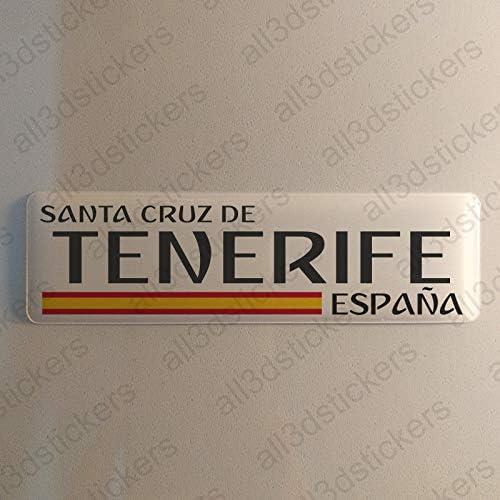 Pegatina Santa Cruz de Tenerife España Resina, Pegatina Relieve 3D Bandera Santa Cruz de Tenerife España 120x30mm Adhesivo Vinilo: Amazon.es: Coche y moto