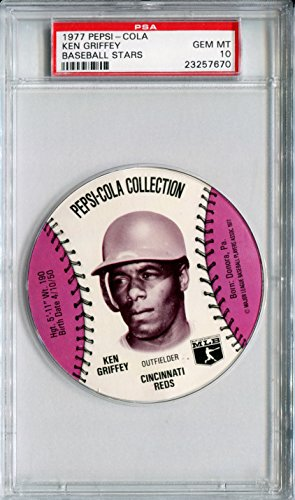(1977 MSA Pepsi Cola Glove Sports Discs KEN GRIFFEY SR Rare PSA Gem Mint 10 SP Cincinnati Reds Big Red Machine)
