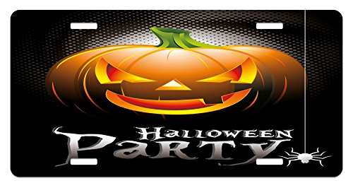 Lunarable Halloween License Plate, Halloween Party Theme Scary Pumpkin on Abstract Modern Backdrop Spider, High Gloss Aluminum Novelty Plate, 5.88