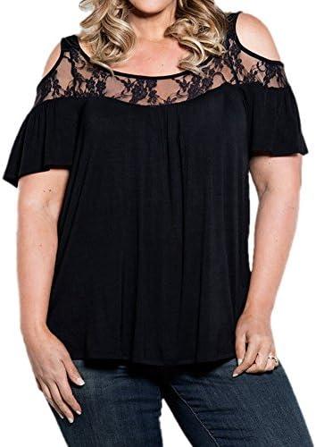 pinupart apagado el hombro de la mujer Classic Pull-On Plus tamaño Lace Knit parte superior