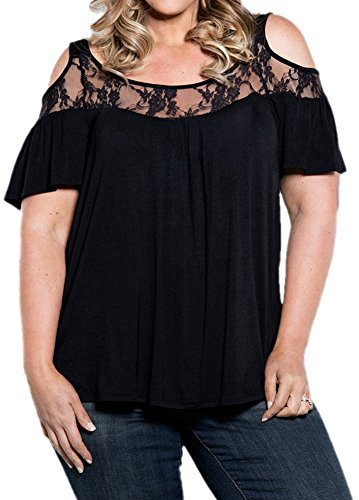 PinupArt Women's Off the Shoulder Classic Pull-On plus Size Lace Knit Top, XX-Large, Black