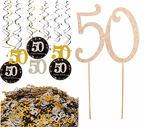 50th Birthday Party Supplies, 50th Birthday Party Table Confetti (1.08oz) Decorations + 50th Birthday Hanging Swirl (12 Counts) Ceiling Decor + 50 GOLD Cake Topper for 50th Birthday Theme Party ()