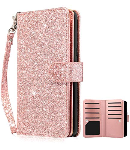 Dailylux Galaxy S7 Edge Case,Magnetic Premium PU Leather+TPU Inner Shell Flip Wallet Case with 9 Card Slot and Wrist Strap Shouckproof Bling Cover for Samsung Galaxy S7 Edge-Glitter Rose Gold