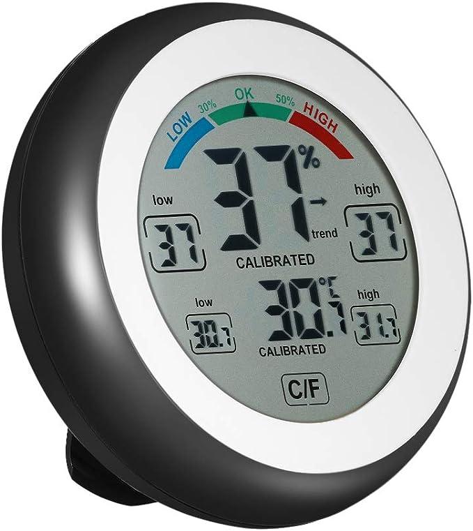 KKmoon termómetro, pantalla de 3.3 pulgadas LCD pequeño, digital, higrómetro, temperatura, para interiores, negro, max. mini. touche