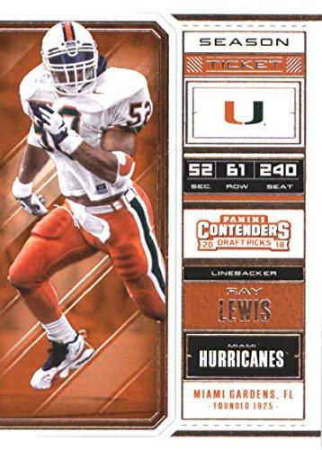 Ray Lewis Card - 2018 Panini Contenders Draft Picks Season Ticket #82 Ray Lewis Miami Hurricanes Football Card