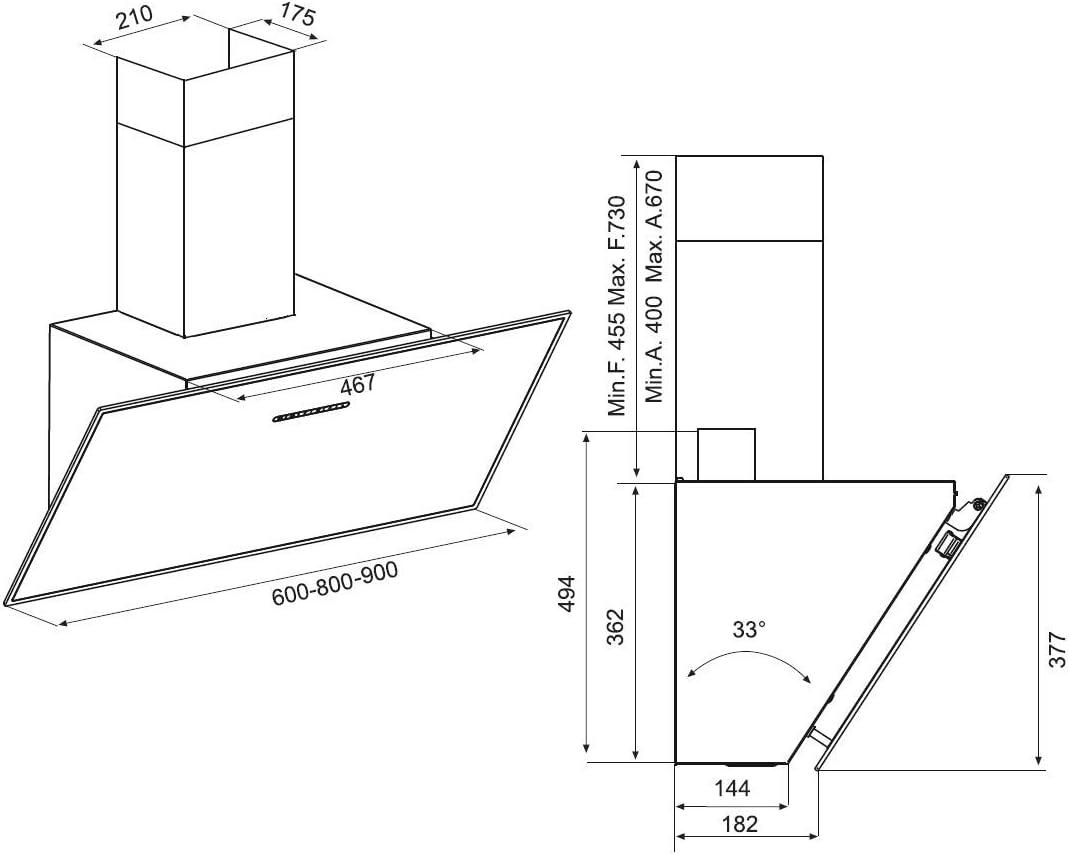 Airforce F203 - Campana de cocina en ángulo (60 cm), color blanco: Amazon.es: Grandes electrodomésticos