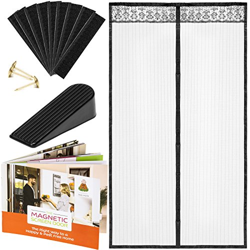 Magnetic Screen Door Protector Curtain | UPGRADED Patio & Front Kit | 34ʺ x 82ʺ Black Polyester Mesh with 26 Built in Magnets & Gravity Sticks, 20 Velcro Strips Full Frame Screen + Gift Door Stopper (Screen Door Patio Doors For)