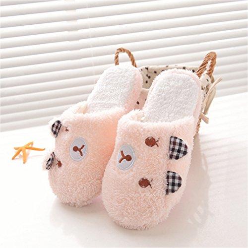 Zhenghewyh Confortevole Uomo Donna Inverno Scarpa Coperta Coppie Casa Pantofola Rosa-orso