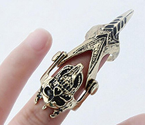 Vintage Steampunk Skull Knuckle Hinged Full Finger Ring With Skeleton Jewelry
