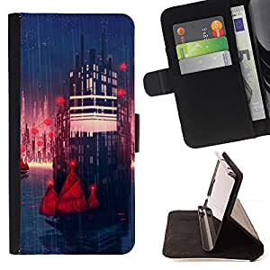 KingStore / Leather Etui en cuir / Samsung Galaxy Note 4 IV / Sci Fi City