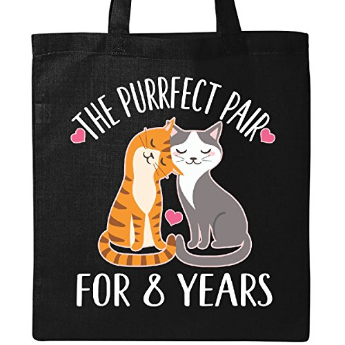 Inktastic - 8th Anniversary Gift Cat Couples Tote Bag Black by inktastic