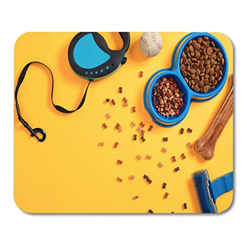 Emvency Mouse Pads Blue Lay Pet Accessories Food Toy Top View Yellow Mouse Pad for notebooks, Desktop Computers mats 9.5