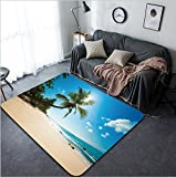 Vanfan Design Home Decorative 109674992 Untouched tropical beach in Sri Lanka Modern Non-Slip Doormats Carpet for Living Dining Room Bedroom Hallway Office Easy Clean Footcloth