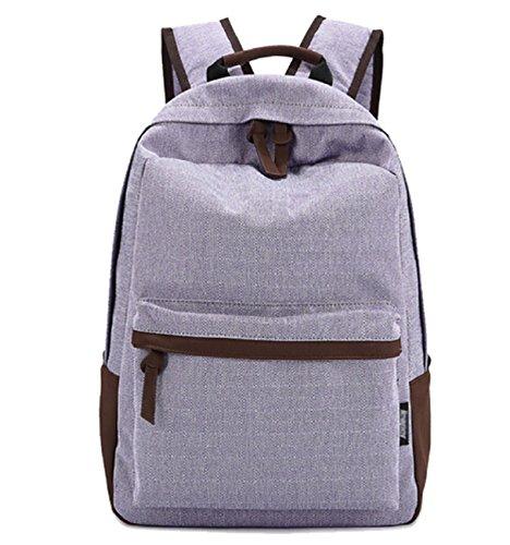 DATO Bolso Mochilas Escolares Mochila de Lona para Mujer Moda Juvenil Grand Capacidad Viaje Mochilas Tipo Casual Backpacks para Adolescentes Púrpura